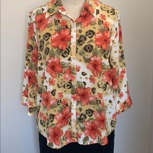 Christopher & Banks floral print blouse